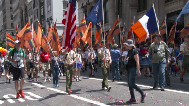 The Boy Scouts Of America march in solidarity at the Gay Pride Parade on 5th Avenue in NYC