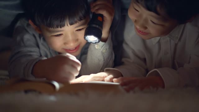 the boys read books holding a flashlight in the blanket - electric torch stock videos & royalty-free footage