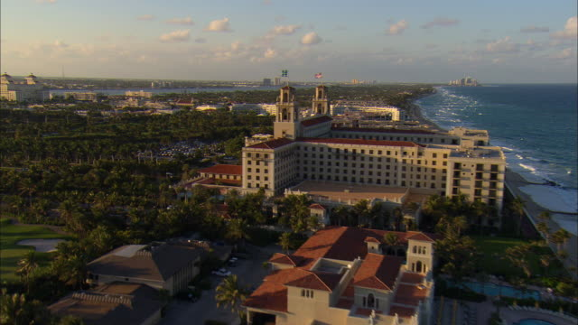 LOW AERIAL 'The Breakers' and 'The Biltmore' hotels at Palm Beach, Florida, USA