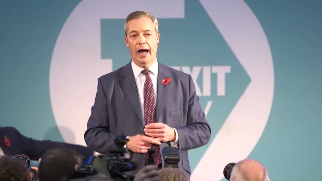 the brexit party leader nigel farage makes a speech to 600 prospective parliamentary candidates, set to fight the general election. mr farage joked... - nigel farage stock videos & royalty-free footage