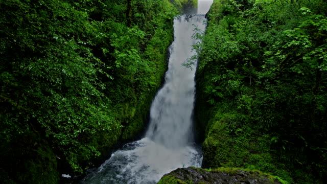 The Bridalveil Falls cascade into the Columbia River Gorge in the Silver Falls of Oregon.