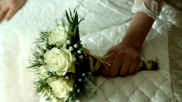 the bride's bouquet - wedding dress stock videos and b-roll footage