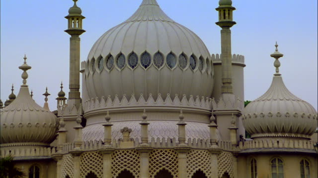 stockvideo's en b-roll-footage met the brighton pavilion features domes and fanciful architecture. - kerktoren