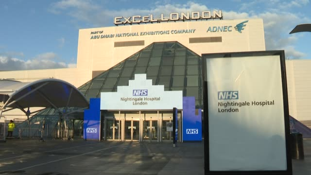 the british government has announced that london's nhs nightingale field hospital is to go on standby after its current patients are discharged - nhs stock-videos und b-roll-filmmaterial