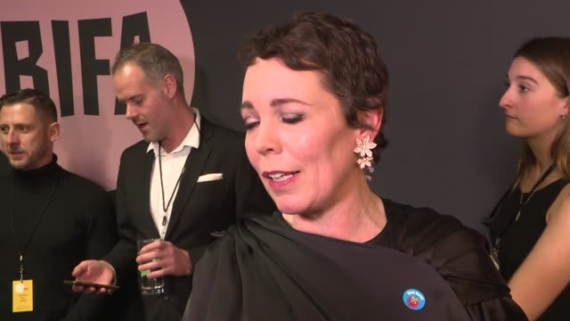 the british independent film awards 2018: winners room; england: london: int **music played on pa in background sot** olivia colman interview sot /... - ジュディ・デンチ点の映像素材/bロール
