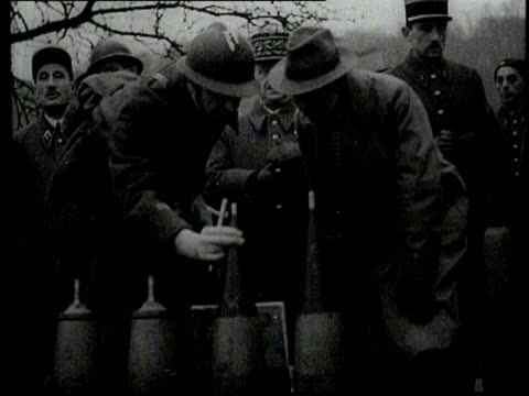 the british prime minister chamberlain visits the maginot line in the company of the french general gamelin - maginot linie stock-videos und b-roll-filmmaterial