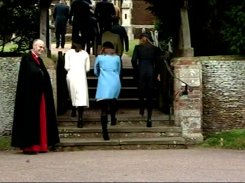 The British Royal Family arrive at Sandringham Church on Christmas Day
