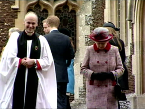 The British Royal Family come out of Sandringham Church on Christmas Day