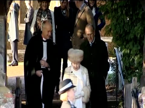 The British Royal Family leave morning worship at Sandringham on Christmas Day