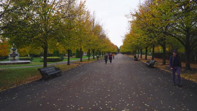 stockvideo's en b-roll-footage met the broad walk,  regents park, london at dusk in autumn. - bank zitmeubels