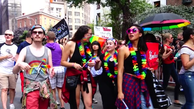 the bronx defenders march during the annual new york city gay pride parade / the bronx defenders provide criminal defense family defense civil legal... - legal defense stock videos and b-roll footage
