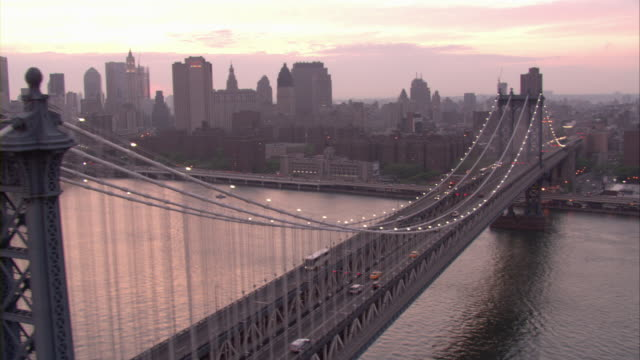 the brooklyn and manhattan bridges are seen from the air. - brooklyn bridge stock videos & royalty-free footage