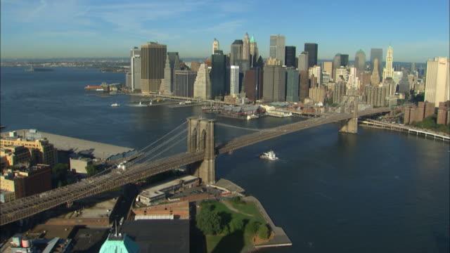 The Brooklyn Bridge crosses the East River.