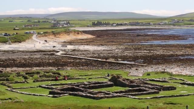 the brough of birsay an ancient pictish and later norse settlement on a tidal island off mainland orkney scotland uk - bright colour stock videos & royalty-free footage