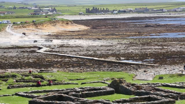 the brough of birsay an ancient pictish and later norse settlement on a tidal island off mainland orkney scotland uk - ancient stock videos & royalty-free footage