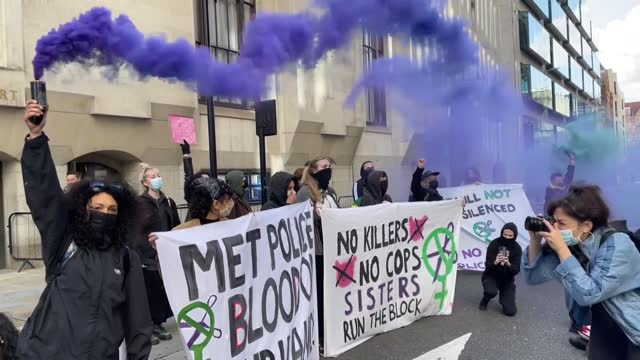 the brutal murder of women and police violence was protested in london on wednesday . during the demonstration, protestors chanted slogans and held... - business person stock videos & royalty-free footage