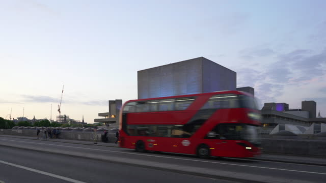 the brutalist architecture of the hayward gallery at dusk - bus stock videos & royalty-free footage