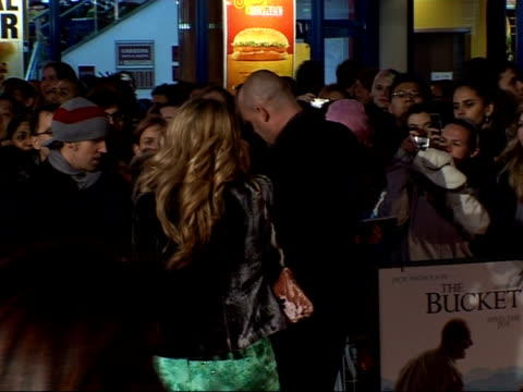 'the bucket list' premiere arrivals and interviews; al murray along with wife amber signing autographs - bucket list stock videos & royalty-free footage
