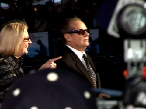 'the bucket list' premiere arrivals and interviews; **flash photography** side views and back views of jack nicholson signing autographs and speaking... - jack nicholson stock videos & royalty-free footage