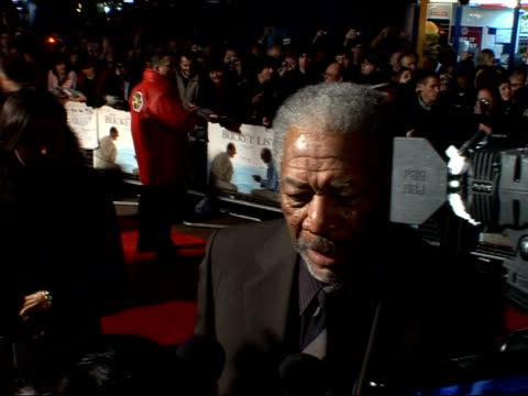 'the bucket list' premiere arrivals and interviews; morgan freeman interview sot - has always wanted to work with rob reiner and jack nicholson /... - jack nicholson stock videos & royalty-free footage