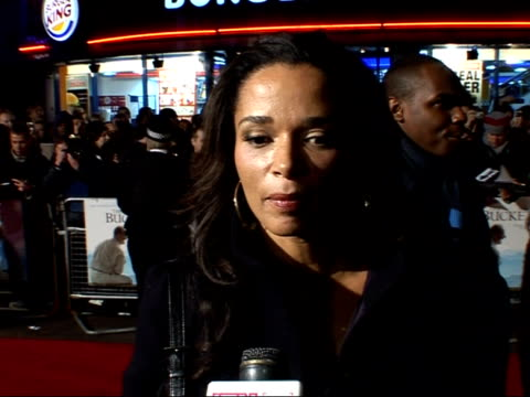 'the bucket list' premiere arrivals and interviews; rowena king interveiw sot - speaks of her role 'angelica' in 'the bucket list' film / very... - bucket list stock videos & royalty-free footage