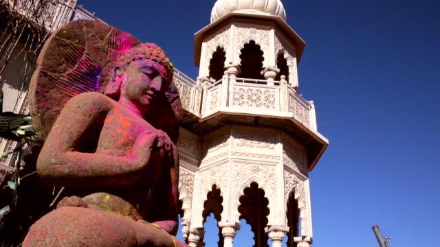 the buddha statue on the sri sri radha krishna temple in utah, usa - buddha stock videos & royalty-free footage