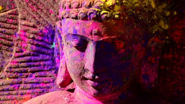 the buddha statue on the sri sri radha krishna temple in utah, usa - temple body part stock videos and b-roll footage