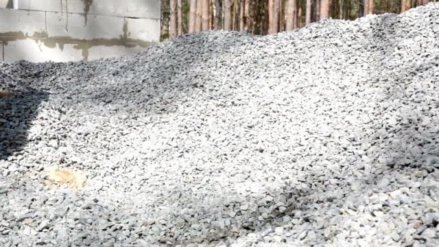 the builder takes gravel for the preparation of concrete. - gravel stock videos & royalty-free footage