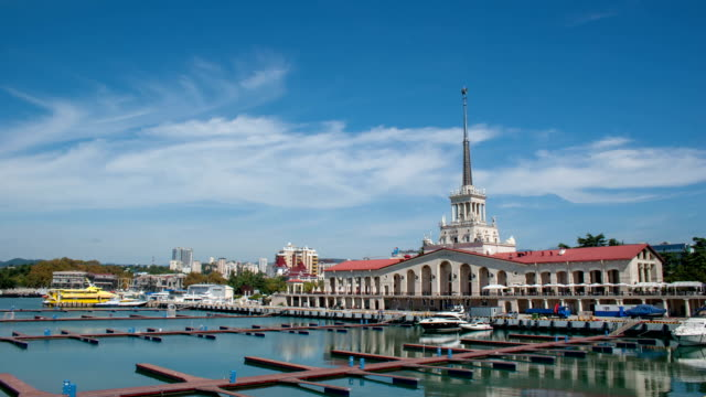 vídeos y material grabado en eventos de stock de tl the building of the sochi seaport / russia, sochi - sochi