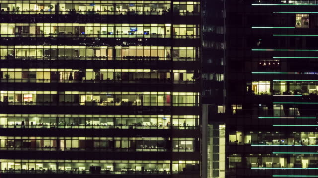 4K TIMELAPSE(4096x2160) : The building office and cityscape at Hong Kong and Time lapse teamwork of business.The cityscape and life.Work late.