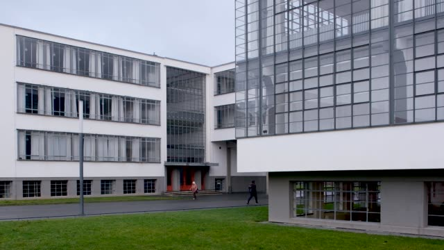 the building that housed the bauhaus art school from 1925 to 1932 and is today a museum stands on january 07 2019 in dessau germany germany is... - weimar video stock e b–roll
