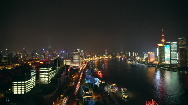 WS The Bund along the Huangpu River at night, Shanghai