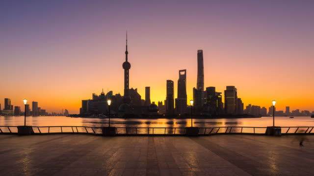 tl the bund and pudong skyline at dawn - shanghai stock videos & royalty-free footage