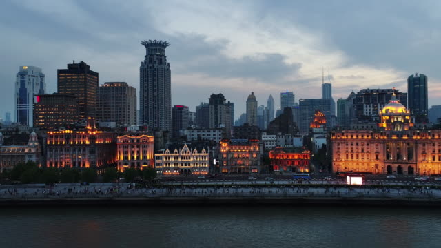 The Bund in the evening in Shanghai