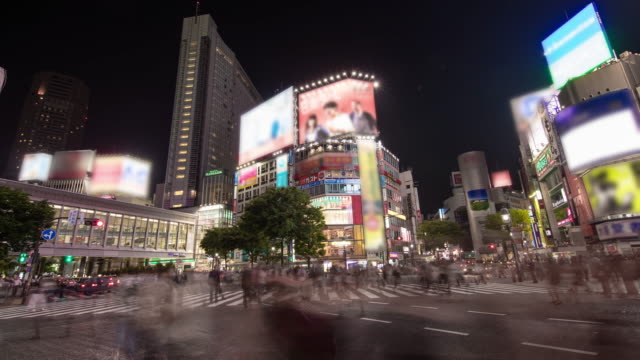 t/l 8k the busiest intersection in front of shibuya station - asian market stock videos and b-roll footage