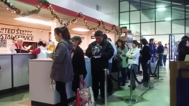 the busiest mailing day of the year was on december 15, 2015. long lines were visible at the alhambra post office. - post office stock videos & royalty-free footage