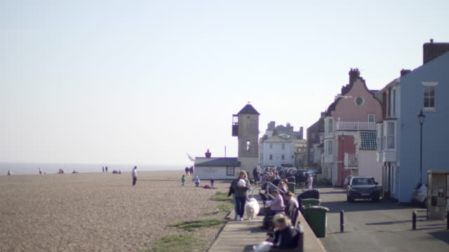 The busy beach at Aldeburgh in Suffolk