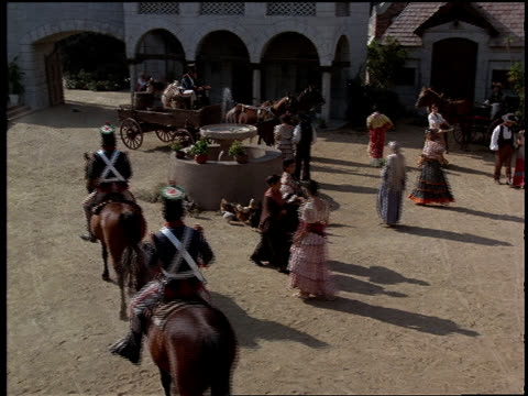 the busy courtyard of a spanish mission. - spanish culture stock videos & royalty-free footage