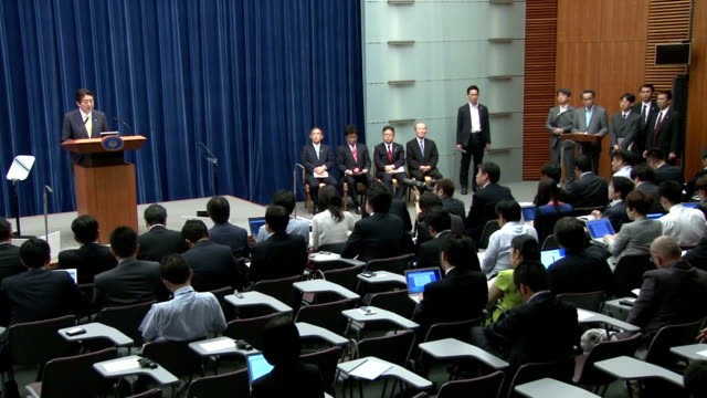 the cabinet of prime minister shinzo abe on thursday approved security bills that would significantly expand the scope of overseas operations by the... - prime minister stock-videos und b-roll-filmmaterial