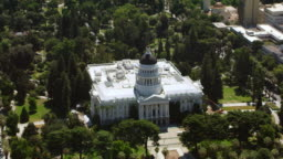 AERIAL The California State Capitol in Sacramento, CA