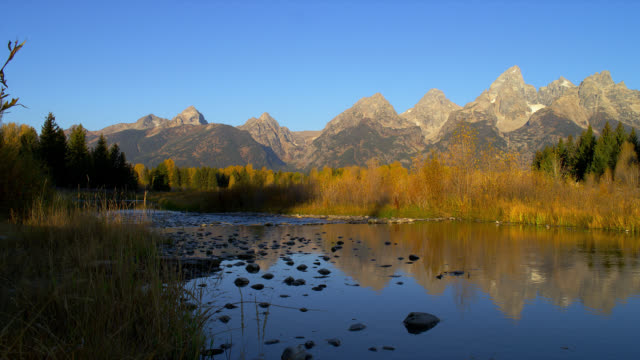 the calm snake river reflects autumn trees along schwabacher's landing and the majestic grand teton mountains. - snake river stock videos and b-roll footage