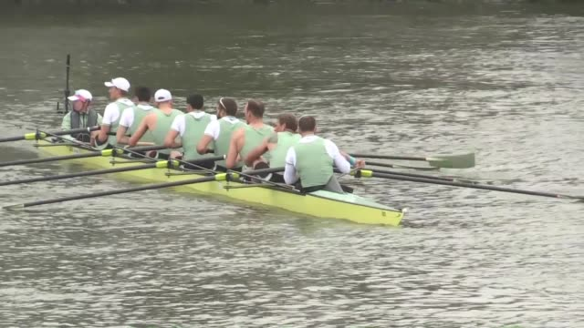 the cambridge men's rowing team lands on the bank at mortlake after winning the 2019 oxford and cambridge boatrace. includes vox pops with james... - oxford oxfordshire stock-videos und b-roll-filmmaterial