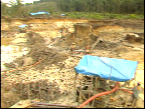 the camera pans across a gold mine in the amazon - roraima state stock videos and b-roll footage