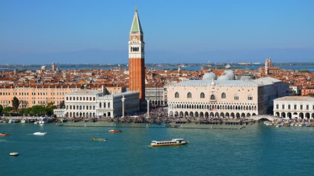 the campanile and doges palace san marco venice - venice italy stock videos & royalty-free footage