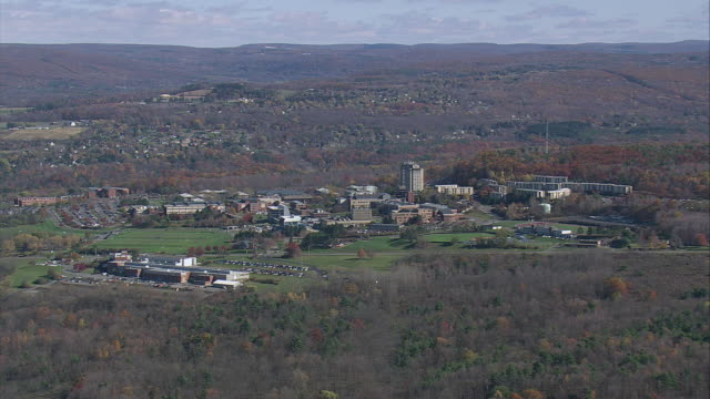 AERIAL The campus grounds of Ithaca College / Ithaca, New York, United States