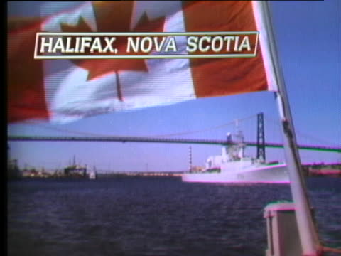 the canadian flag flies on a military ship. - healthcare and medicine or illness or food and drink or fitness or exercise or wellbeing stock videos & royalty-free footage