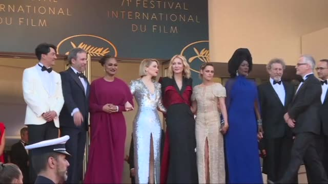 the cannes jury led by cate blanchett walks the red carpet ahead of crowning the winner of the coveted palme d'or for best film - 71st international cannes film festival stock videos & royalty-free footage