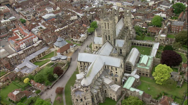 the canterbury cathedral occupies the center of town in canterbury, england. - canterbury cathedral stock videos & royalty-free footage