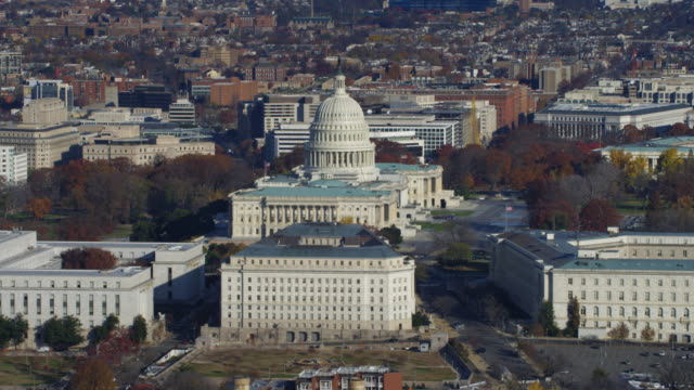 The Capitol Building, Rayburn House Office Building in foreground. Shot in 2011.