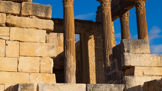 the capitol in dougga city - frontgiebel stock-videos und b-roll-filmmaterial